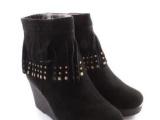 冬季女鞋流苏装饰磨砂皮白搭坡跟克洛伊11