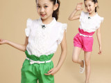 童装一件待发2014潮新款女童夏款 中大童休闲两件套 儿童短袖套