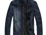 新款休闲潮男春季立领纯棉牛仔夹克男式夹克外套薄男士夹克