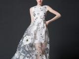 2015春夏季新款品牌无袖连衣裙欧美大牌优雅小清新欧根纱印花长裙