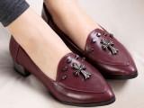 春季新款流行 朋克风百搭小尖头中口铆钉低跟单鞋 女鞋 6766