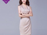 2015夏季新款经典职业装V领修身显瘦气质女连衣裙无袖短裙一步裙