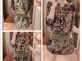 韩版春装2014女装新款 大码显瘦长袖雪纺连衣裙 夏季新品碎花裙