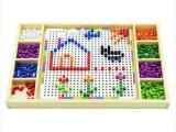 厂家直销儿童智慧拼盘蘑菇钉插图木制益智早教玩具批发智力拼插图