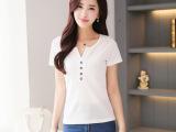 一件代发15夏季新款韩版纯色纽扣拼接短袖T恤女式v领显瘦打底衫