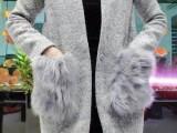 2014欧洲站冬季新款女装 时尚真毛口袋立领毛呢大衣呢子外套女