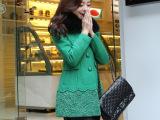 欧洲站 秋装蝴蝶结装饰蕾丝拼接时尚修身毛呢大衣外套 韩版女装