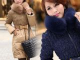2012新款冬装女装女士中长款蓝狐狸毛大毛领精品羽绒服批发