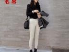 韩国stylenanda官网黑白色小脚裤 女修身显瘦铅笔长裤牛仔裤女式