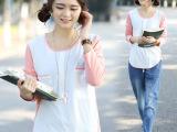 2014年新款正品T672韩版春装休闲长袖圆领拼接宽松T恤女