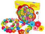 木制儿童益智玩具英文字母游戏数字串珠游戏花园串珠STN