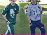 一件代发,秋季新品童套装 儿童字母两面穿运动休闲男童套装 批发