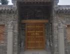定制松木庭院双开门榆木别墅大门仿古中式素门