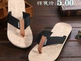夏季新款韩版男士人字拖仿麻绳鞋身织布带夹
