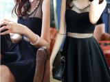 性感修身夜店装小黑裙镶钻圆领 透视网纱拼接打底连衣裙