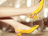 巴黎时装周2015春季水晶真皮女鞋 欧洲站韩版尖头高跟鞋凉鞋女士
