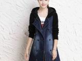 2014秋冬新款 韩版大码双排扣中长款女式休闲牛仔风衣外套批发