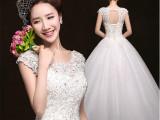 批发2015韩版新款婚纱礼服新娘结婚双肩复古蕾丝一字肩高档婚纱
