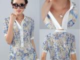 外贸速卖通夏装大码女装不规则碎花立领雪纺衫女式短袖
