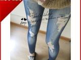打底裤 女 韩版 潮个性俏皮修身显瘦假破洞仿牛仔 打底裤 批发