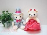 婚车/婚礼签到台饰品 银灰婚纱熊情侣泰迪熊婚礼熊结婚压床娃娃B
