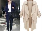 2014新款外贸女装 欧美时尚大气休闲大码外套 简约风衣 女外套