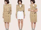 2014女装秋季新品韩版纯色长款两件套双排扣风衣 一衣多穿