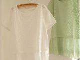 XX2014夏季新款 精致绣花圆领 拼接短袖衬衫娃娃衫