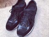 大牌外贸原单新款高端女鞋磨砂真皮鱼皮拼布系带厚底休闲运动鞋女