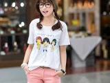2014韩国春装新款happy卡通宽松长款短袖女t恤