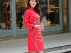 新娘旗袍 2014新款红色新娘冬款加棉旗袍 复古敬酒服唐装长款旗袍
