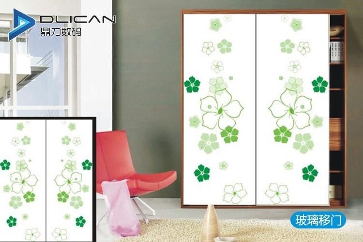 玻璃门图案UV平板打印 理光喷头 高清精细