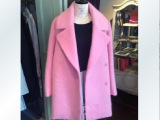 茧型毛呢外套 2014日本代购大牌定制 中长款女粉色羊毛呢大衣女