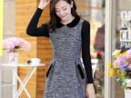 2014娃娃领时尚长袖毛呢针织裙秋冬气质修身显瘦收腰连衣裙女