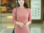批发2014秋冬新款 女式羊毛衫 长袖修身半高领纯色烫钻针织毛衣女