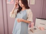 2014新款韩版女装批发大码蕾丝镂空袖拼接仿牛仔宽松女式T恤48