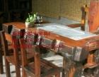 西宁市老船木家具茶桌椅子沙发茶台茶几办公桌餐桌鱼缸置物架案台