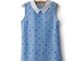 2014春夏季新品田园甜美海螺图案无袖衫雪纺衫短袖衬衫T恤女款