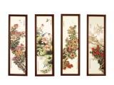 四季花卉瓷板四条屏 画面洋溢出浓浓诗情画意