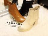 欧洲站真皮中筒女靴2014新款冬季棉鞋防水台高跟粗跟马丁靴短靴