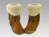 厂家批发 新款5836中筒双层流苏真皮羊毛ugg雪地靴 皮毛一体