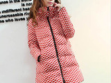 厂家直销批发女中长款羽绒服韩版女装冬装圆点连帽波点外套 现货