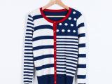 [工厂团]2014新款春装金扣欧美波点百搭毛衣针织开衫 女式
