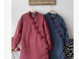 冬季新款女装批发 复古加厚中长款女式牛仔棉衣 热销保暖棉服女