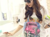 韩版代购夏装宽松大码长款大圆领长短摆卡通短袖t体恤女一件代发