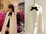 韩国东大门代购2014秋冬新款蝴蝶结中长款羊绒毛呢斗篷外套大衣
