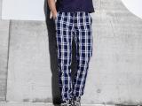棉类混纺格子裤宽松版型秋季新款男式长款休闲裤韩版长裤男 批发