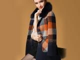 紫璐莱 2014冬装新款毛呢大衣女撞色格子单排扣高档毛领外套