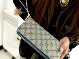 新款时尚休闲PU大字母双拉链钱包女士钱包中长款手拿包零钱包