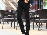 男休闲裤修身男式牛仔裤黑色纯棉弹力中腰牛仔长裤男裤子男装批发